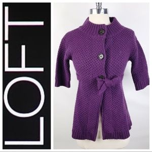 Ann Taylor LOFT Purple Sweatercoat Cardigan